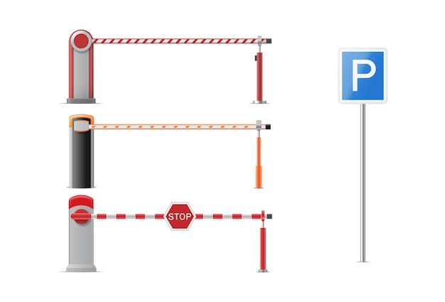 Satz geschlossener parkautosperre mit stopp- und parkschildern Premium Vektoren