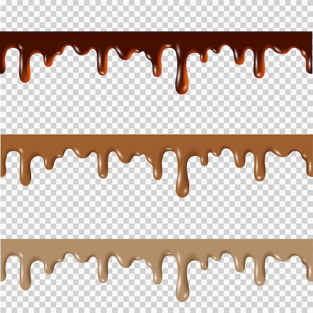 Satz geschmolzene schokolade, erdnussbutter, nahtlose grenzen des karamells Premium Vektoren