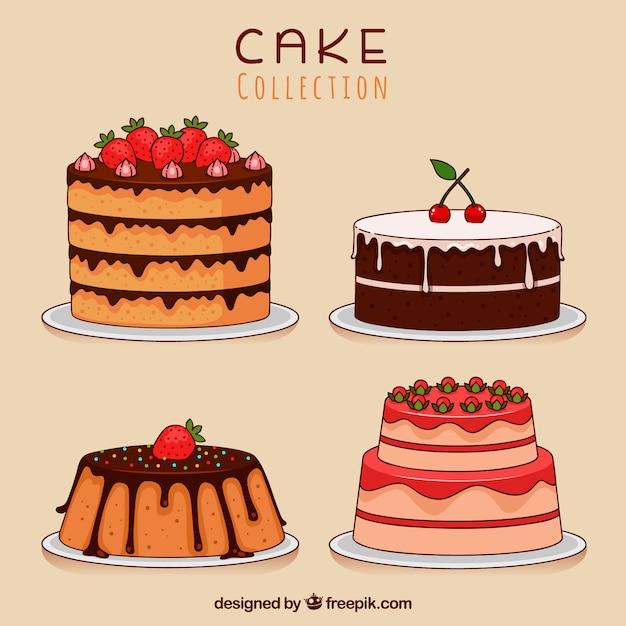 Satz Gezeichnete Art Der Kuchen In Der Hand Download Der