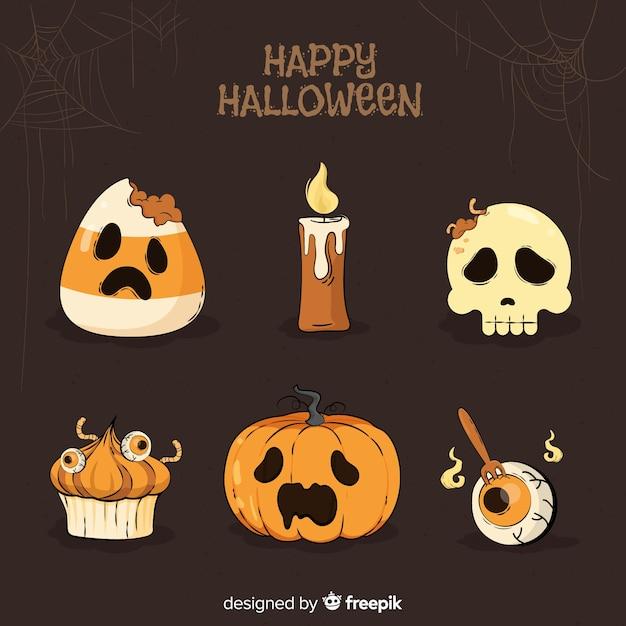 Satz gezeichnete art halloween-elemente hand Kostenlosen Vektoren