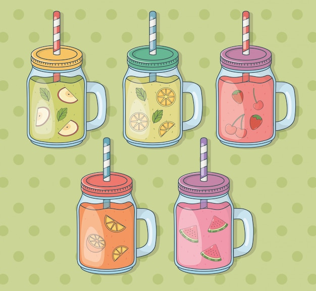 Satz glasbehälter mit fruchtsäften und strohen Premium Vektoren