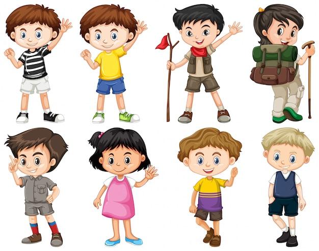 Satz glückliche kinder, die verschiedene aktionen tun Kostenlosen Vektoren