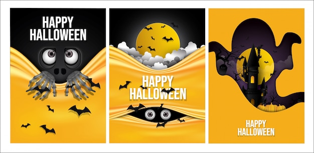 Satz glücklicher halloween-hintergrund. Premium Vektoren