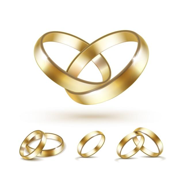 Satz gold trauringe isoliert auf weiß Premium Vektoren