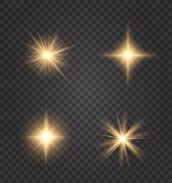 Satz goldene glühende lichteffekte, die auf a existieren. Premium Vektoren