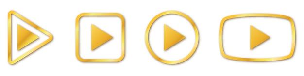 Satz goldener spielknöpfe. spielen sie isoliert. goldspielsymbol Premium Vektoren