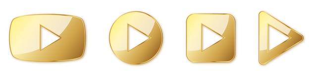Satz goldener spielknöpfe. spielen sie isoliert. illustration. goldspielsymbol Premium Vektoren