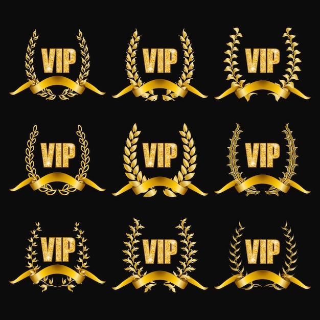 Satz goldvip-monogramme für grafikdesign auf schwarzem hintergrund. Premium Vektoren