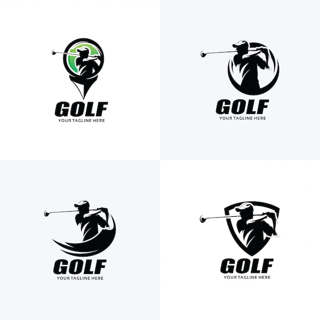 Satz golf logo design templates Premium Vektoren