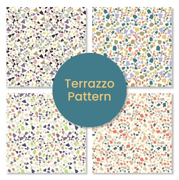 Satz granit-terrazzomuster. Premium Vektoren