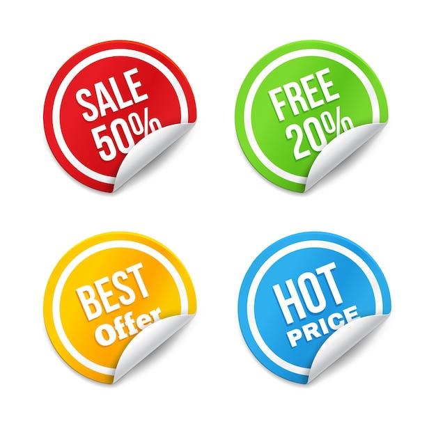 Satz große verkaufsanhänger mit gekräuselter kante. heißer preis, bestes angebot, kostenlos und rabatt. Premium Vektoren
