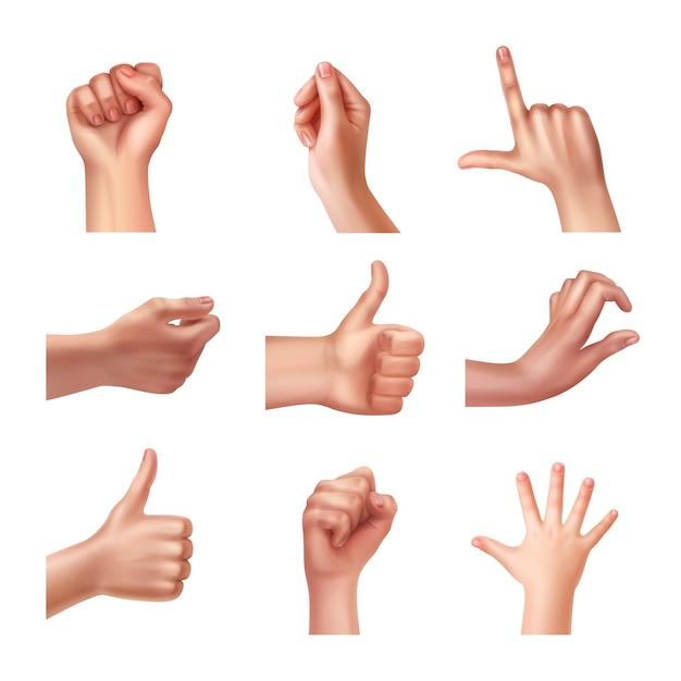 Satz hände in verschiedenen gesten, emotionen und zeichen Kostenlosen Vektoren