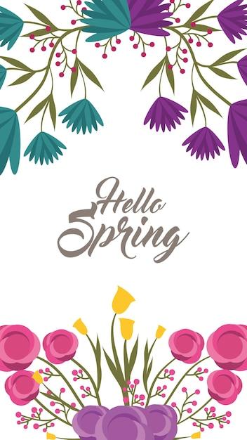 Satz hallo Frühlingsbeschriftung mit den romantischen Blumenrahmen ...
