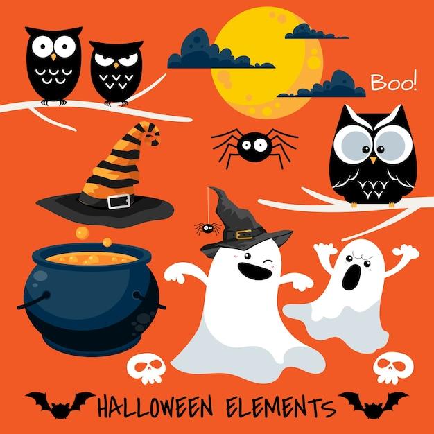 Satz halloween-elemente und -symbole. Premium Vektoren