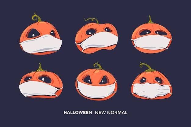 Satz halloween gruselige kürbisse mit ausdruck und gesundheitsmaske für gesunde protokollkoronavirus-pandemie Premium Vektoren