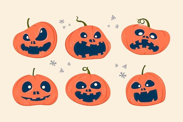 Satz halloween gruselige kürbisse mit ausdruck Premium Vektoren