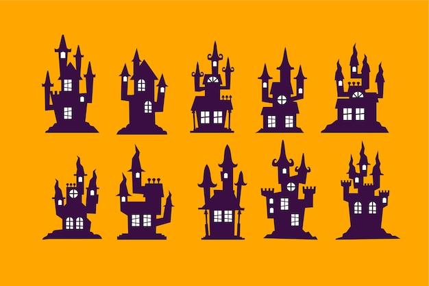 Satz halloween-haus-vektor-illustration Premium Vektoren