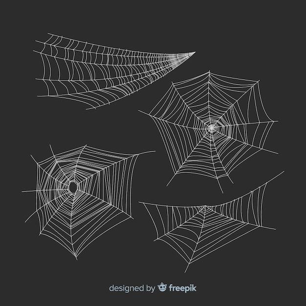 Satz halloween-spinnennetze Kostenlosen Vektoren