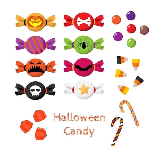 Satz halloween-süßigkeit. Premium Vektoren