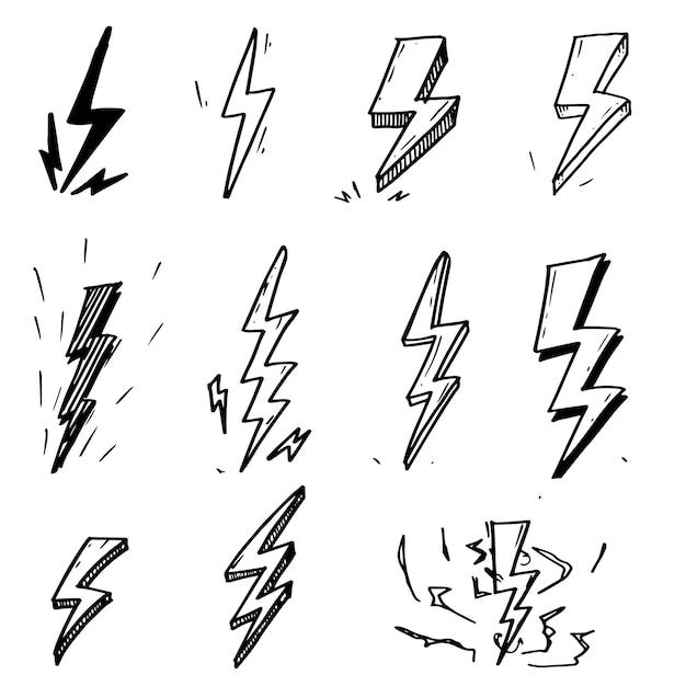 Satz hand gezeichnete blitzbolzensymbol-skizzenillustrationen des vektorgekritzels elektrische. Premium Vektoren