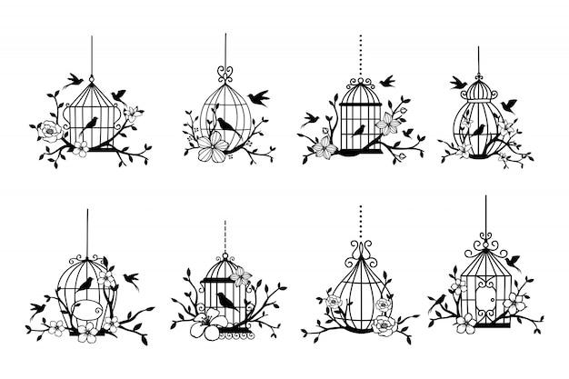 Satz hand gezeichnete hochzeit birdcage-sammlungen Premium Vektoren