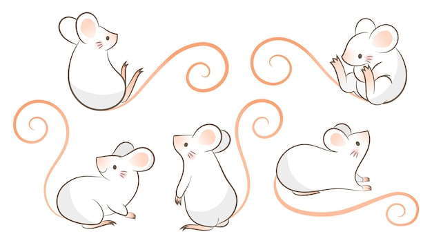 Satz hand gezeichnete ratten, maus in den verschiedenen haltungen. vektorillustration, karikatur doodley art. Premium Vektoren