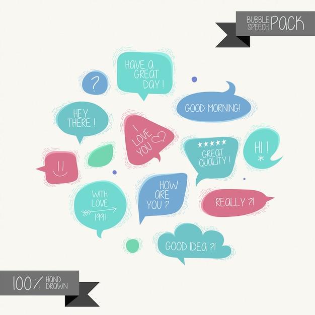 Satz hand gezeichnete rede sprudelt auf weißem hintergrund Premium Vektoren