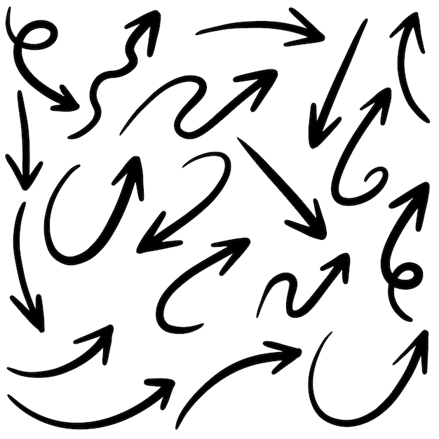 Satz hand gezeichnete vektorpfeile kritzeln Premium Vektoren