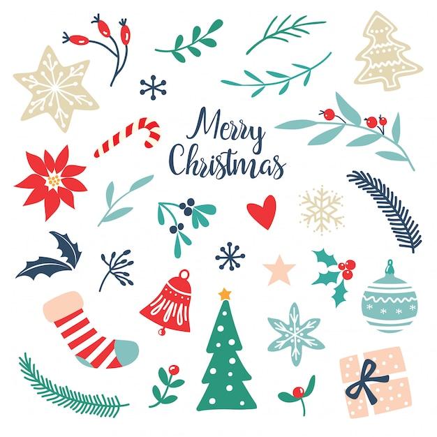 Satz hand gezeichnete weihnachtselemente und -symbole Premium Vektoren