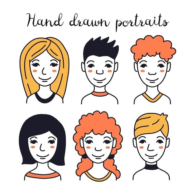 Satz handgezeichnete avatare verschiedener menschen Premium Vektoren