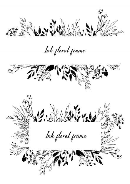Satz handgezeichnete blumenränder und rahmen der vektortinte Premium Vektoren