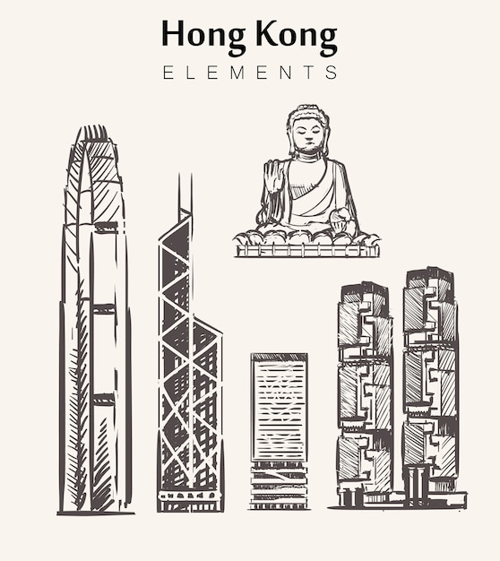 Satz handgezeichnete hong kong gebäude. hong kong elemente skizzieren illustration. big buddha, internationales finanzzentrum, bank of china, lippo tower. Premium Vektoren