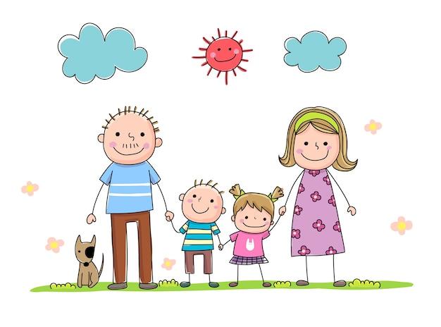 Satz handgezeichnete karikaturfamilie, die hand während eines sonnigen tages zusammenhält Premium Vektoren