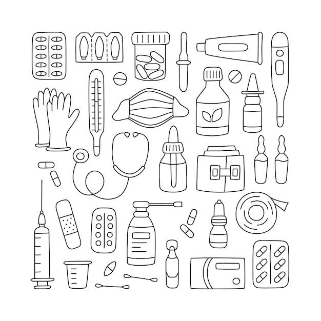 Satz handgezeichnete medikamente, medikamente, pillen und medizinische elemente des gesundheitswesens. Premium Vektoren