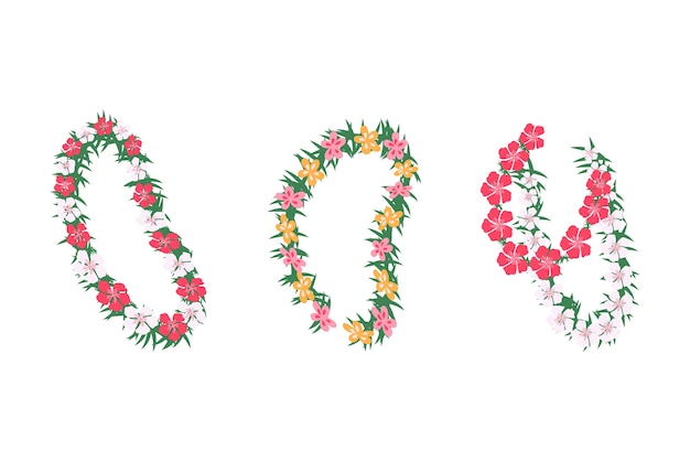 Satz hawaiianische tropische blumengirlanden, karikaturillustration lokalisiert auf weißem hintergrund. hochzeits- und feiertagsgirlanden mit tropischen blumen. Premium Vektoren