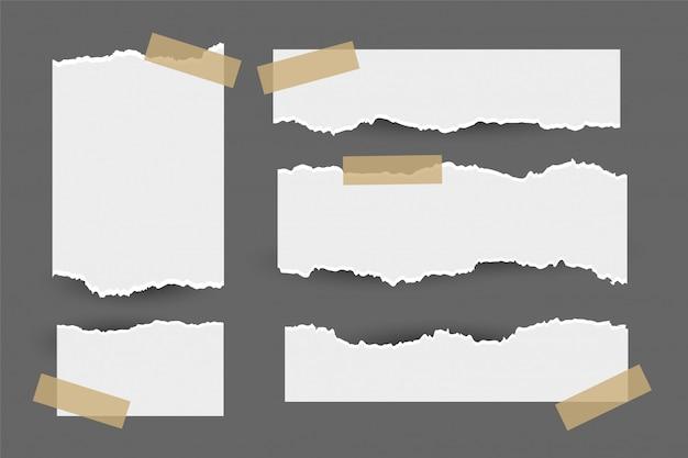 Satz heftige zerrissene papierblätter mit aufkleber Kostenlosen Vektoren