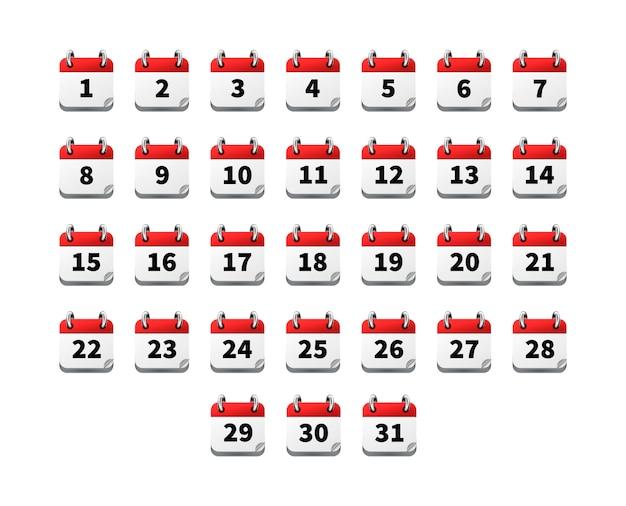 Satz helle realistische ikonen des kalenders mit datumsangaben lokalisiert auf weiß Premium Vektoren