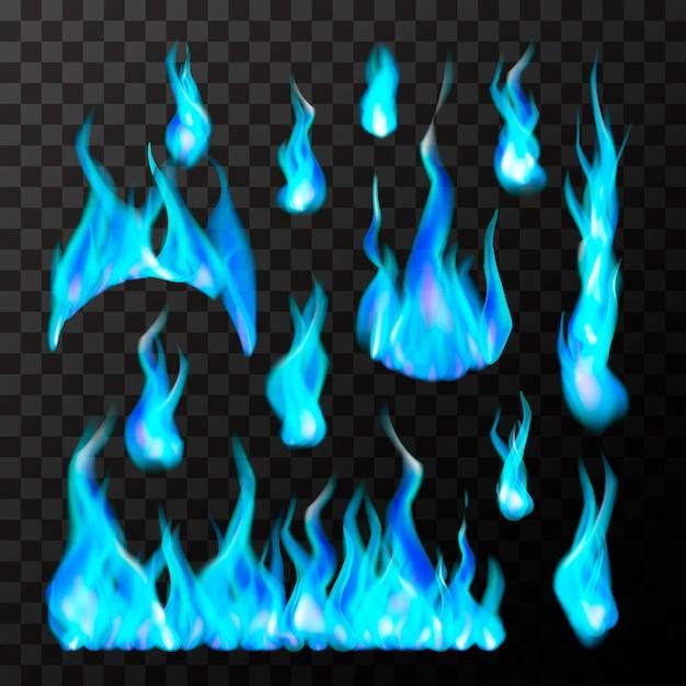 Satz helle verschiedene blaue gasfeuerflammen auf transparent Premium Vektoren
