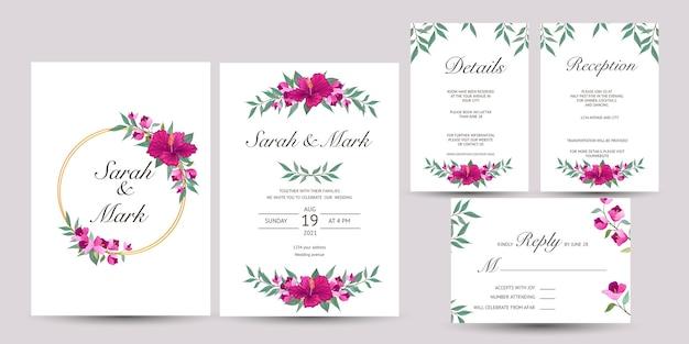 Satz hochzeitseinladung mit hibiskusblüten Premium Vektoren