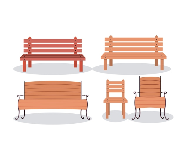 Satz hölzerne Stühle der Bank | Download der Premium Vektor
