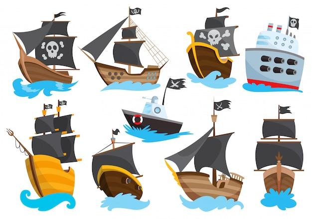 Satz holzpiraten-freibeuter-filibuster-korsaren-seehundschiff-symbolikon, isoliertes flaches design. farbkarikaturfregatte. Premium Vektoren