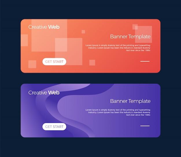 Satz horizontale fahnen universalschablone für eine website mit text, knöpfen und transparenten elementen. Premium Vektoren