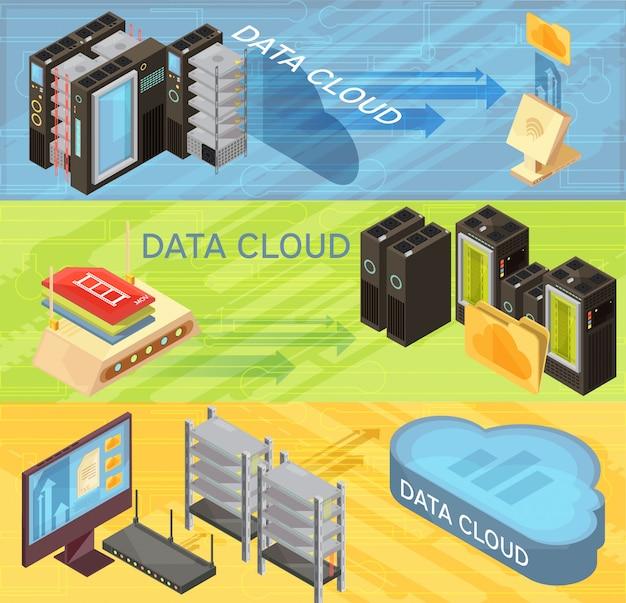 Satz horizontale isometrische fahnen mit datenwolke, informationsübertragung, router, hosting-server, computer lokalisierte vektorillustration Kostenlosen Vektoren