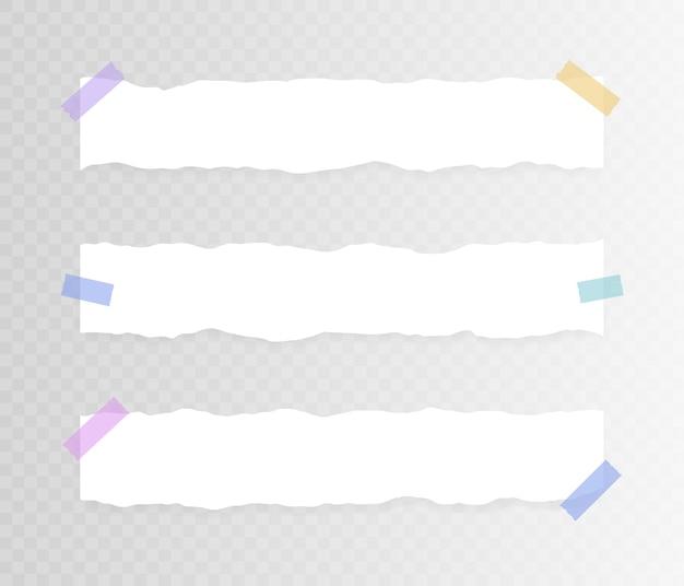 Satz horizontales zerrissenes papier auf klebeband auf transparentem hintergrund. illustration. Premium Vektoren