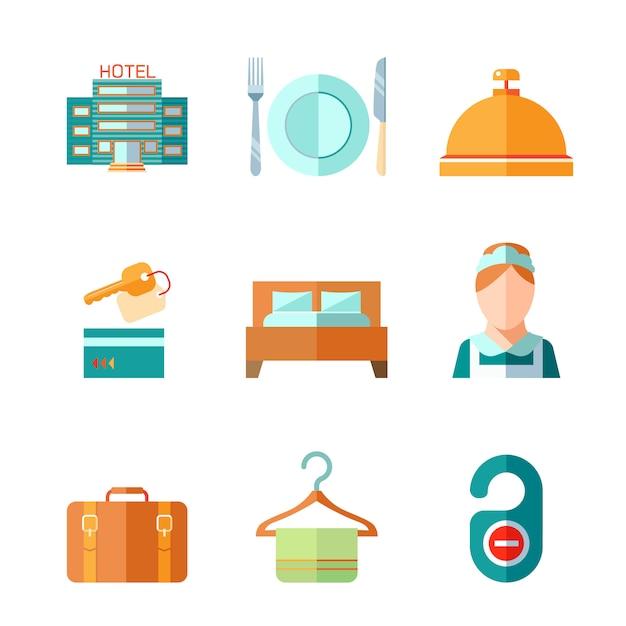 Satz hotelglockenschlüsselbettgepäck-zimmermädchenikonen in der flachen farbart Kostenlosen Vektoren