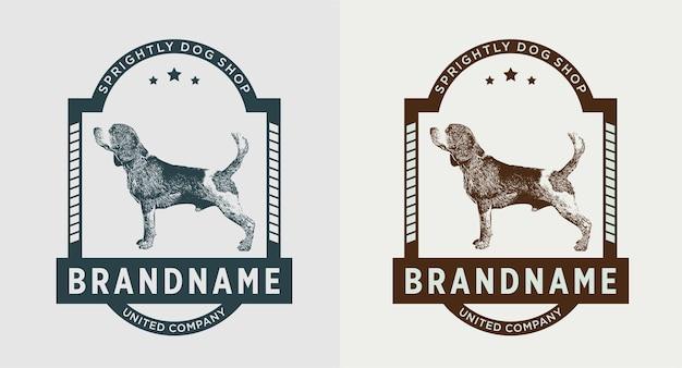 Satz hund vintage logo Premium Vektoren