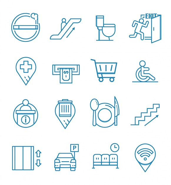 Satz ikonen der öffentlichen navigation mit entwurfsart Premium Vektoren