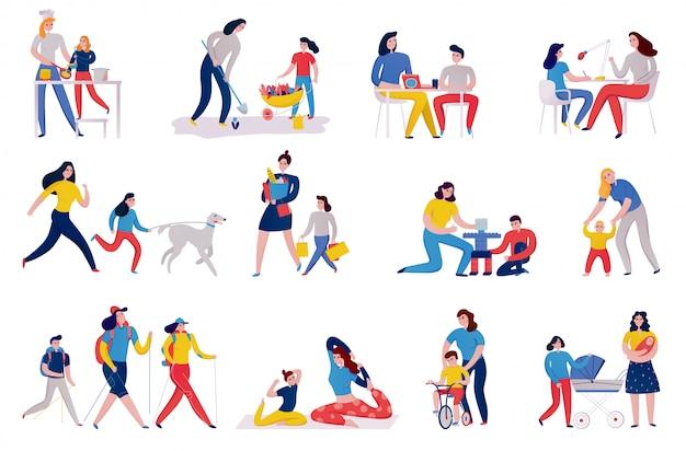Satz ikonenmutter und -kinder während des pflanzens des blumenkocheinkaufs und der yoga-übungen isolierte illustration Kostenlosen Vektoren