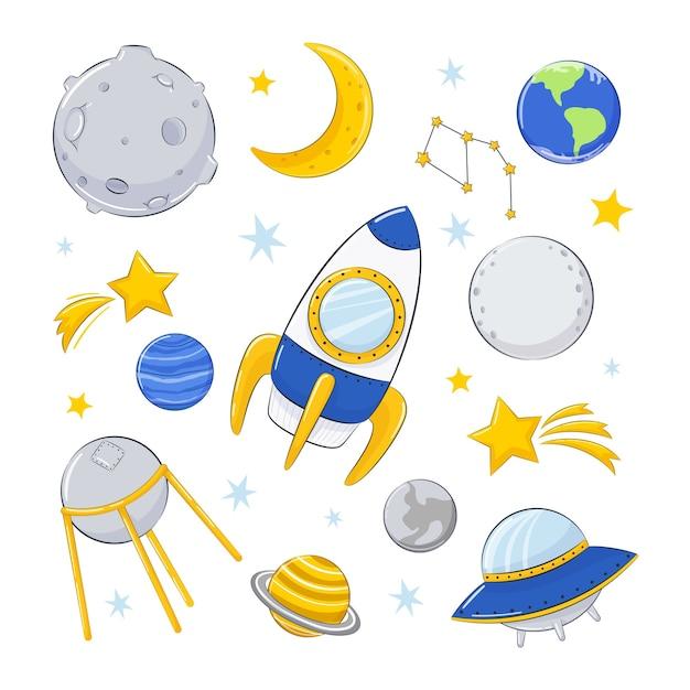 Satz illustration auf kosmischem thema. Premium Vektoren