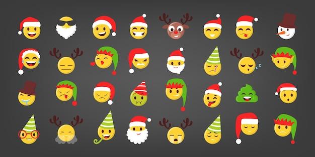 Satz illustration des lustigen weihnachtsemoji. festliches gesicht mit hüten und weihnachtselement. esolated emoticon für online-chat Premium Vektoren